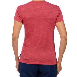 T-shirt manches courtes randonnée VOYAGE500 laine mérinos femme rose