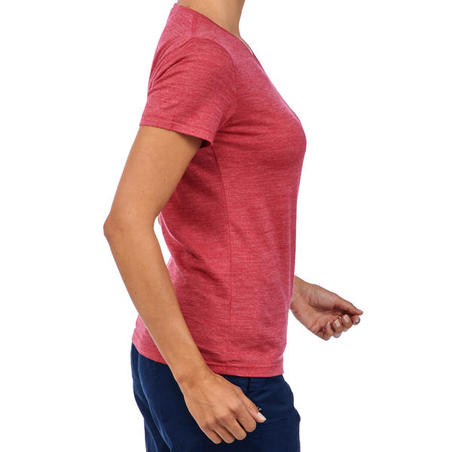 Women's Trekking Short-Sleeved Merino Wool T-Shirt TRAVEL500 - Pink