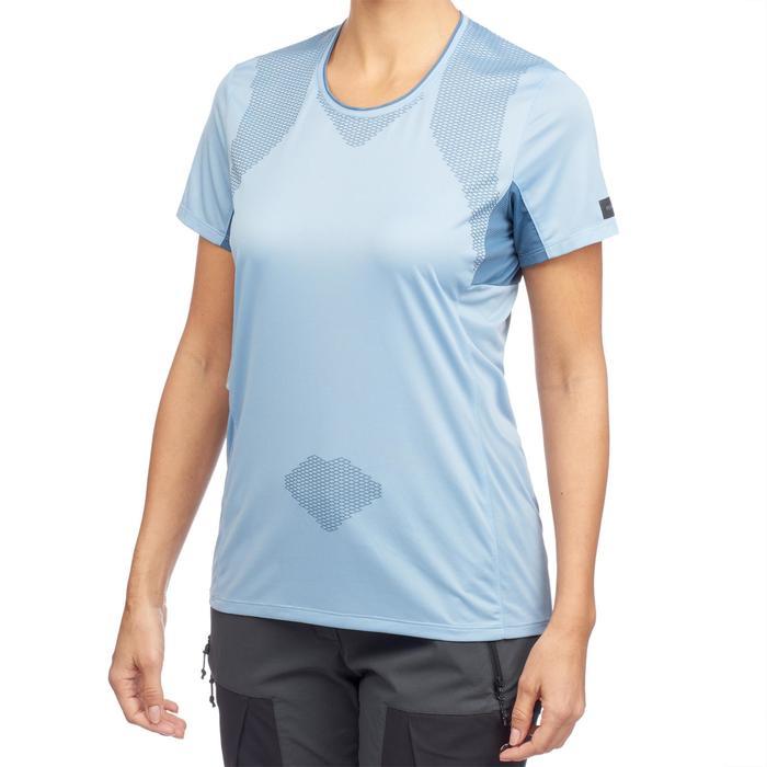 T-shirt manches courtes trekking montagne TREK 100 femme bleu