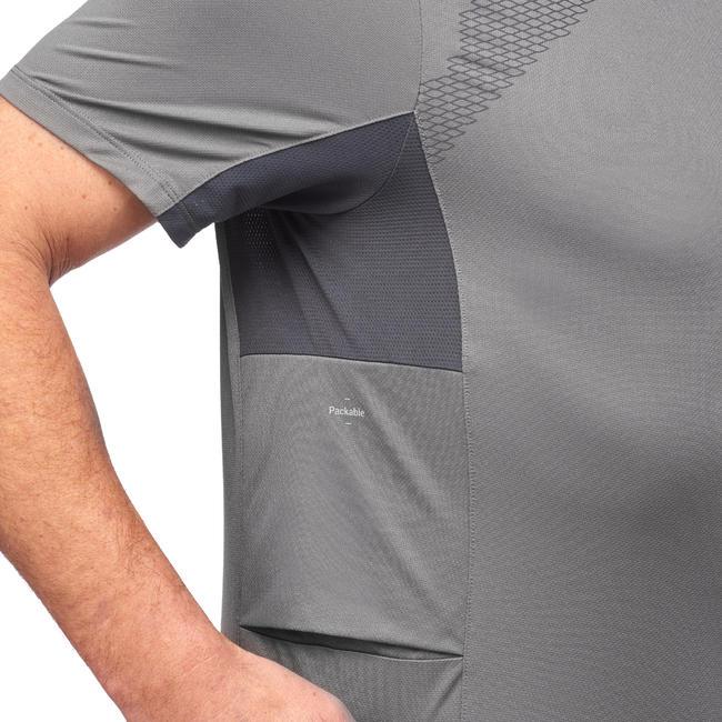 Men's Short-Sleeve Mountain Trekking T-Shirt Trek 100 - Grey