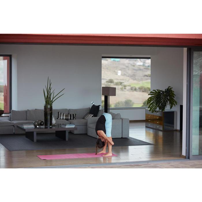 3/4-Hose dynamisches Yoga Damen mit hellblauem Print