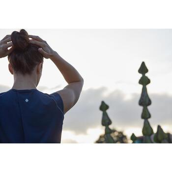 Camiseta de yoga transpirable para mujer azul jaspeado