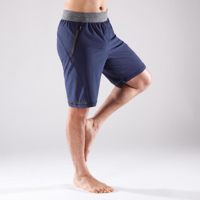 Yogashort in polyester voor heren marineblauw