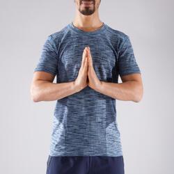 Naadloos heren T-shirt met korte mouwen voor dynamische yoga gemêleerd blauw