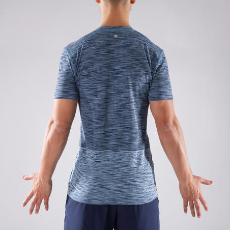 Seamless Short-Sleeved Dynamic Yoga T-Shirt - Mottled Blue