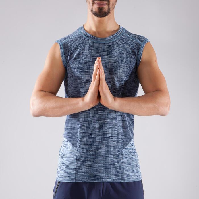 Camiseta sin mangas y sin costuras YOGA negro/azul hombre