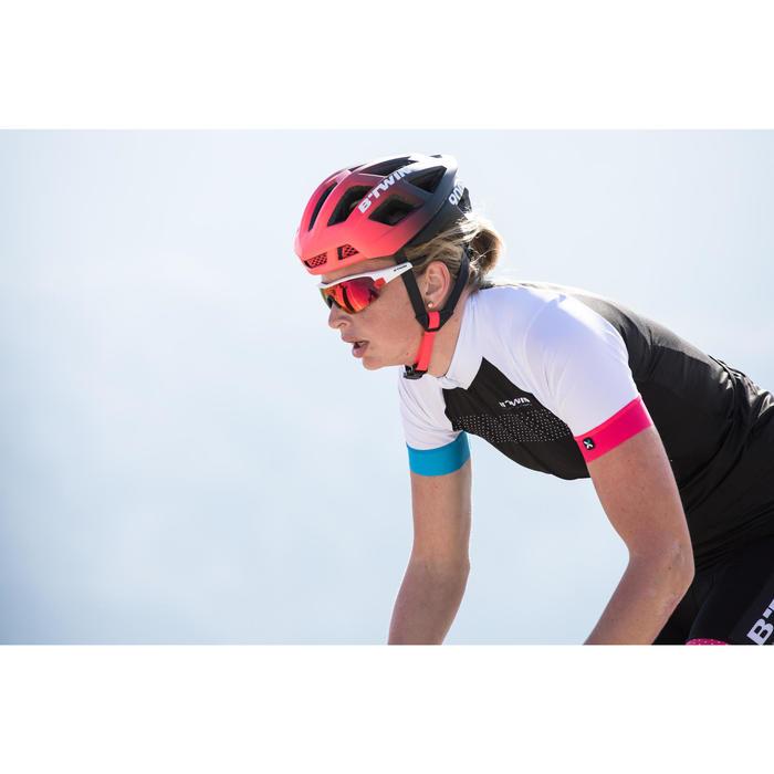 Kurzarm-Radtrikot Rennrad 900 Team Damen schwarz/weiß/blau