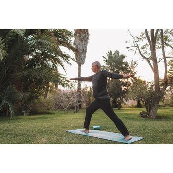 Naadloos yoga shirt met lange mouwen heren zwart/grijs
