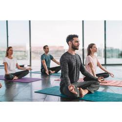 Yogamat Comfort voor zachte yoga 8 mm blauw jungleprint