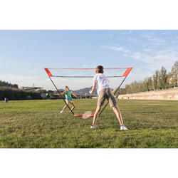 Badminton Easy-Set 3m mit Netz + 2 Schläger + 2 Bälle weiß und gelb