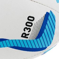 Balón de Rugby Offload R300 talla 4 blanco y azul
