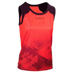 Camiseta sin mangas rugby mujer Coral/Ciruela
