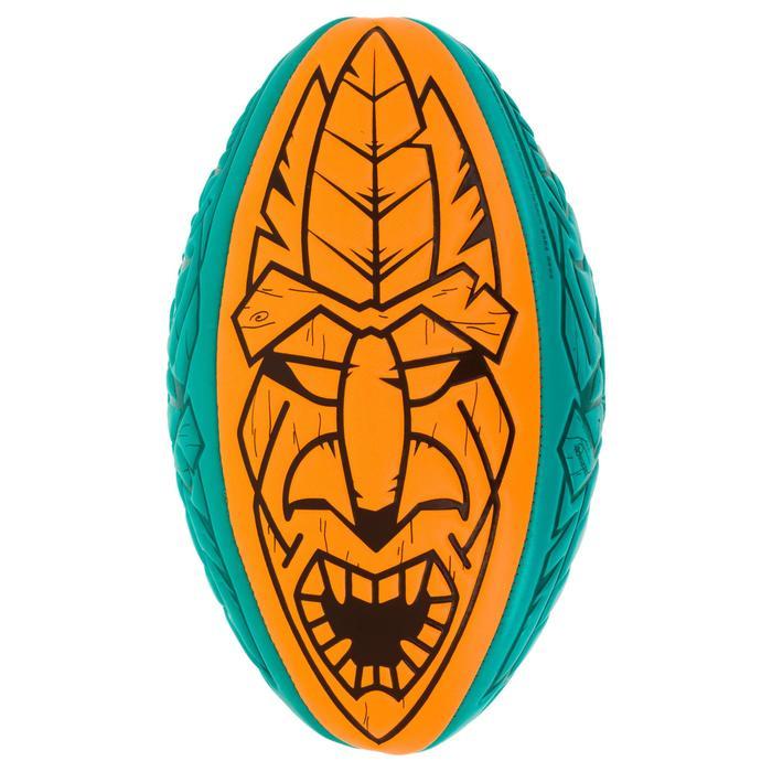 Ballon Beach Rugby R100 Tiki midi orange et vert