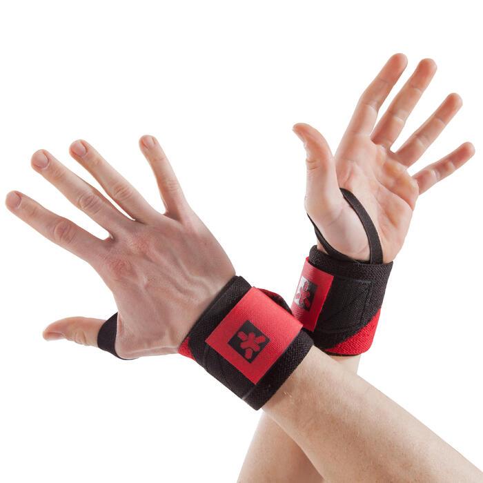 Wrist wraps met klittenband voor krachttraining rood