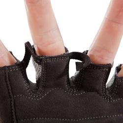 Guante musculación 500 Domyos negro caqui puño ajustado por tira autoadherente