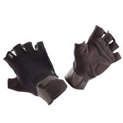 翻邊重量訓練運動手套 500 - 黑色/紅色