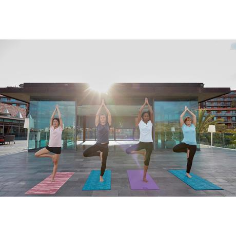 Tapis Yoga Doux Confort 8 Mm Imprime Bleu Jungle Domyos By Decathlon