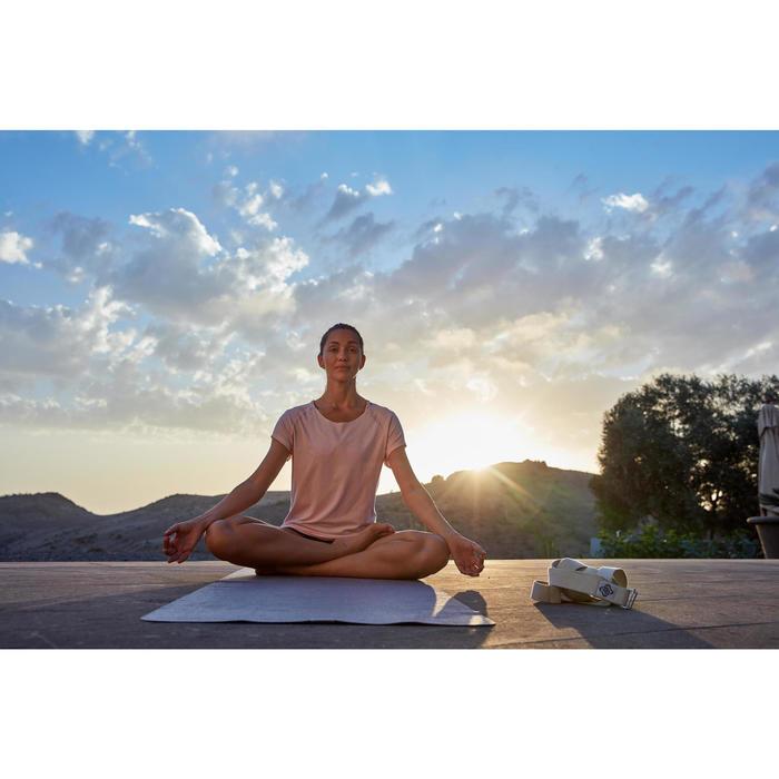 T shirt yoga doux femme en coton issu de l'agriculture biologique noir - 1311580