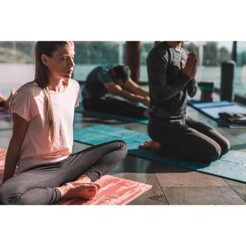 Legging yoga femme coton issu de l'agriculture biologique noir / gris chiné - 1311581