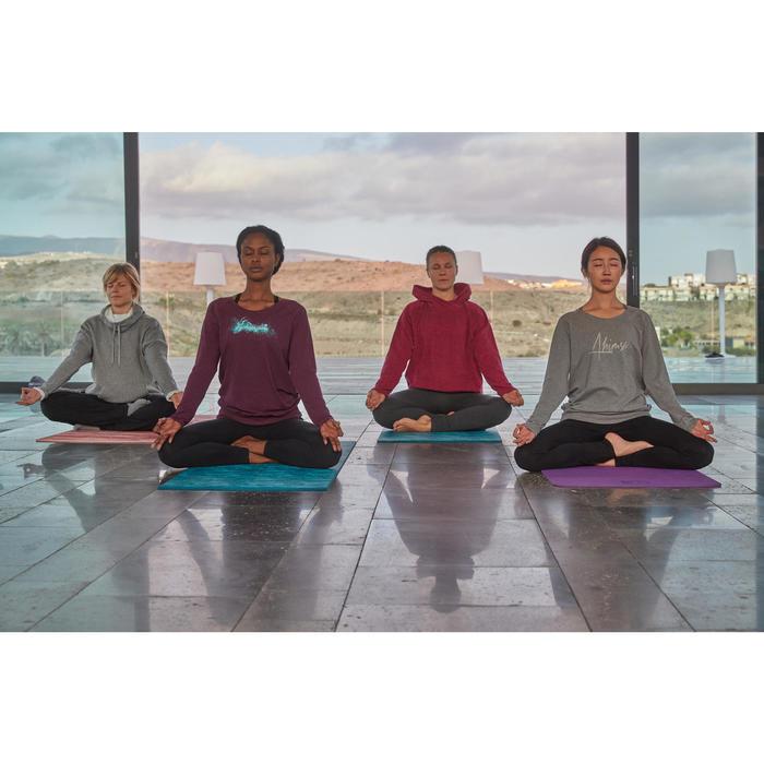 Legging yoga femme coton issu de l'agriculture biologique noir / gris chiné - 1311586