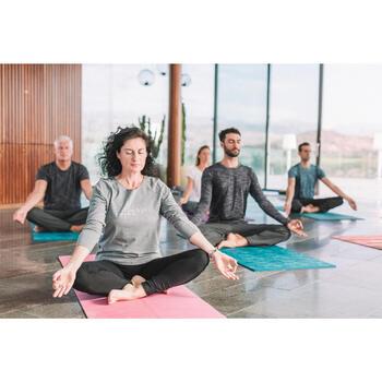 Legging yoga femme coton issu de l'agriculture biologique noir / gris chiné - 1311587