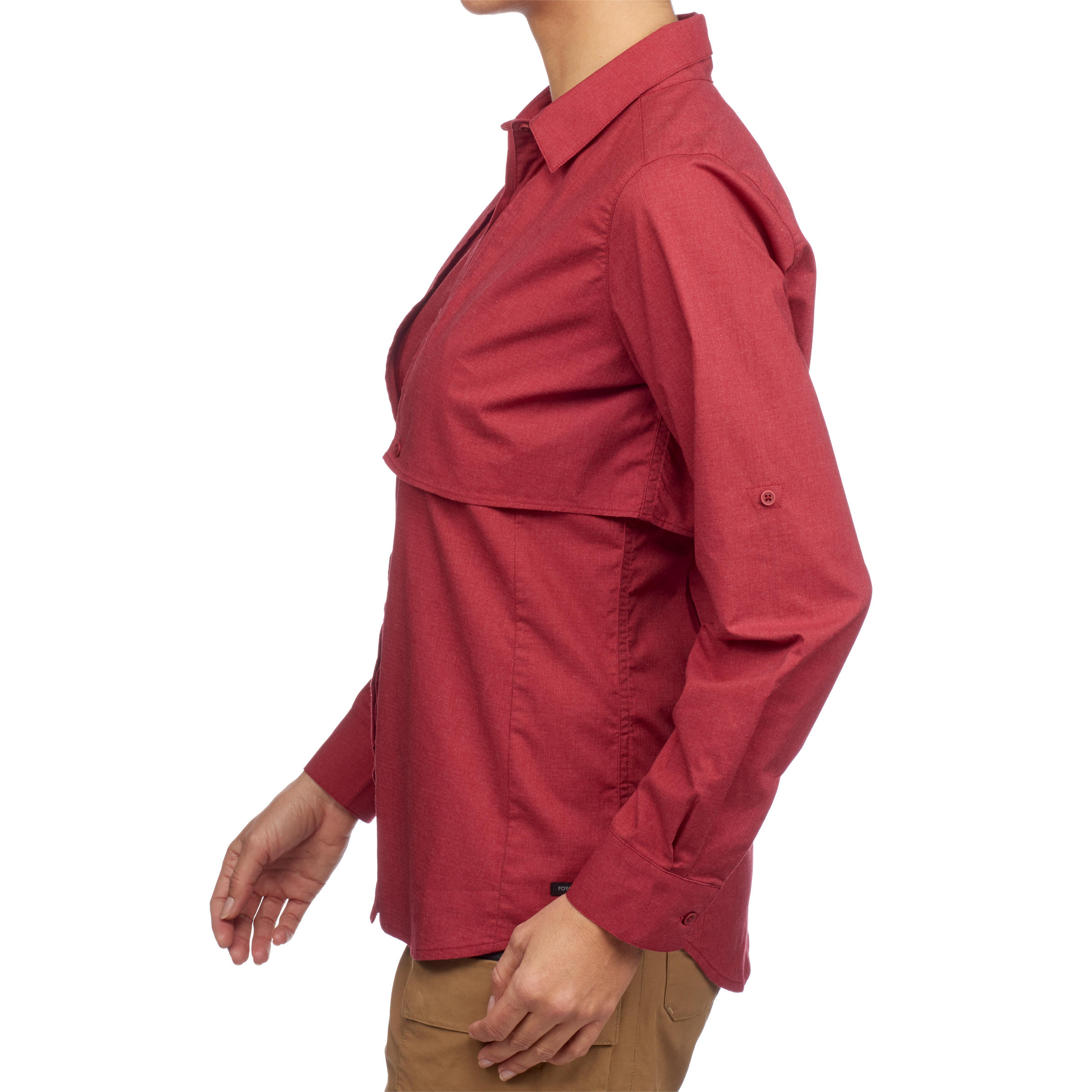 Travel 500 Women's Modular Long-Sleeve Trekking Shirt - Burgundy
