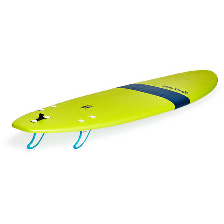 100 Foam Surfboard 6'. Supplied with a leash and three fins.