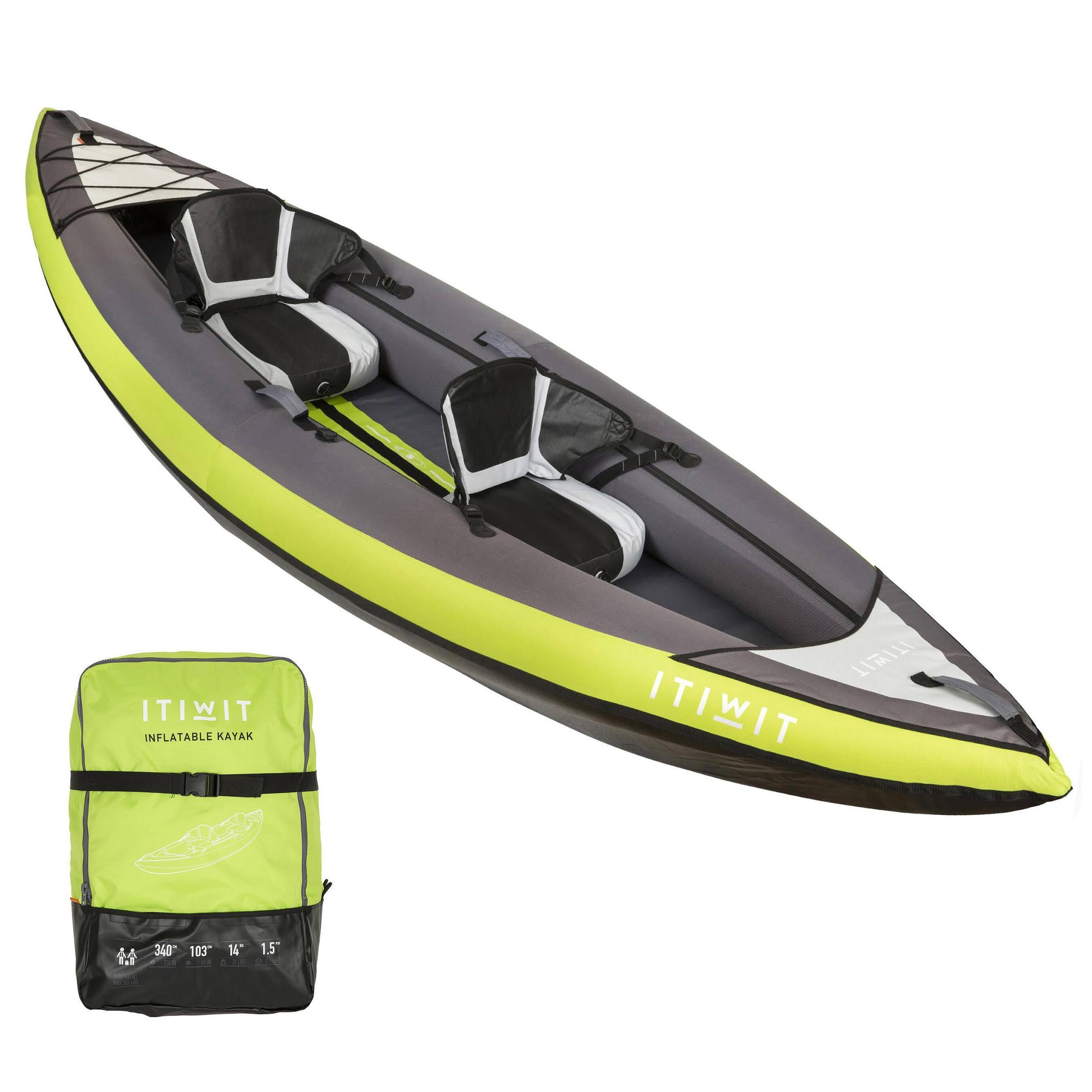 INFLATABLE 1-2 SEAT CANOE-KAYAK GREEN