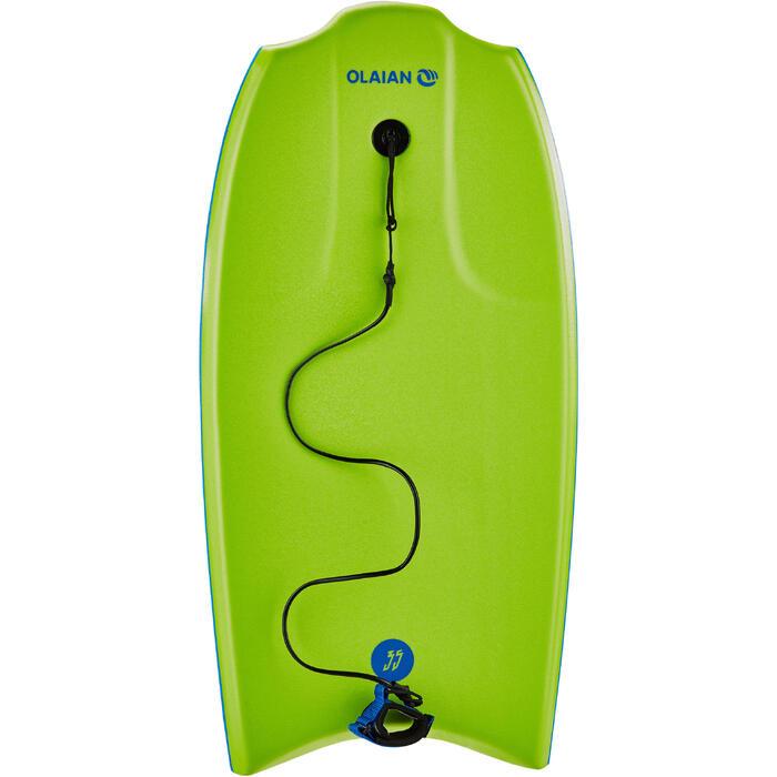 """Bodyboard 100 (35"""") groen met gladde onderzijde en leash"""