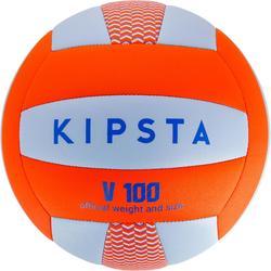 Balón de voleibol V100 azul y naranja
