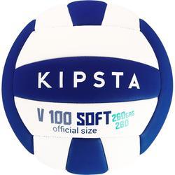 Volleybal V100 soft 260-280 gram wit/blauw