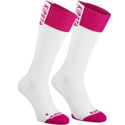 Hoge volleybalsokken V500 wit en roze Allsix