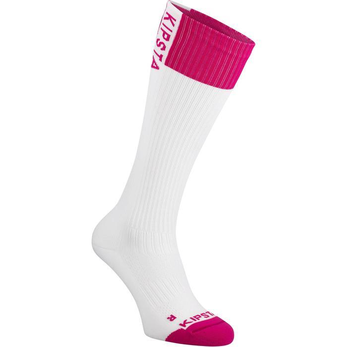 Hoge volleybalsokken V500 wit en roze