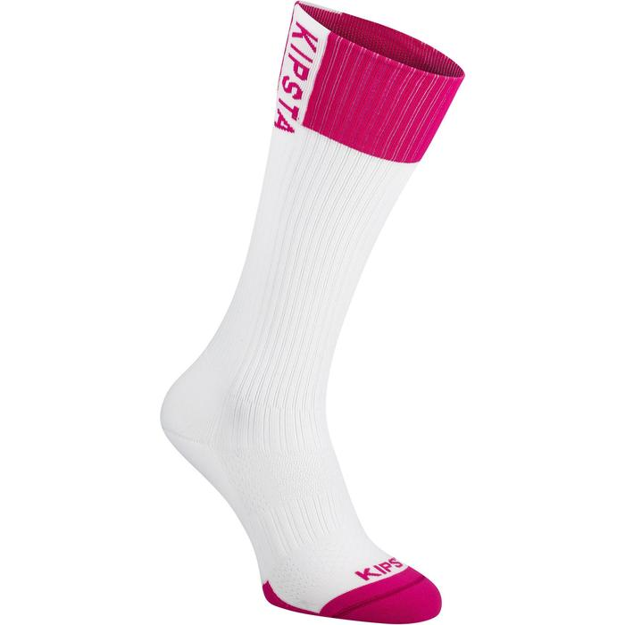 Calcetines de voleibol V500 blanco y rosa