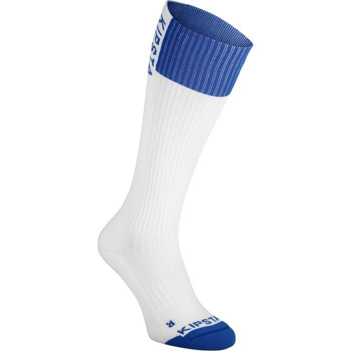 女款排球襪V500-白色/藍色