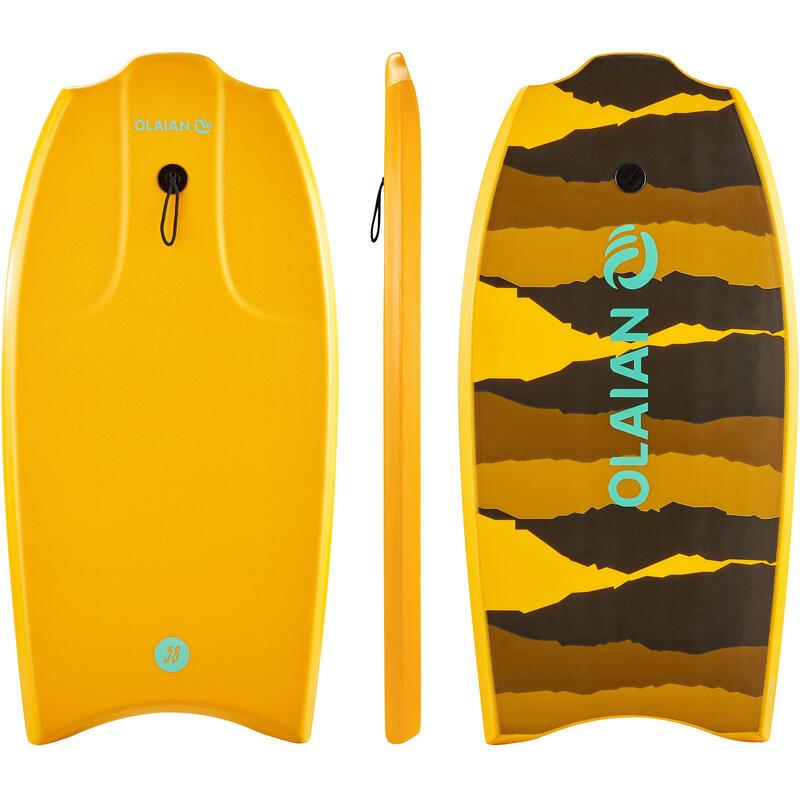 "100 Bodyboard 1.45m-1.65m 38"" with Glide Slick and Leash - Orange"