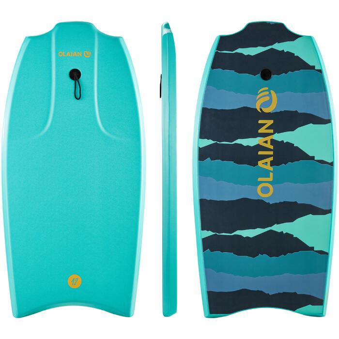 """BODYBOARD 100 azul verde 1,65 m - 1,85 m 42"""" con suela de deslizamiento y leash"""