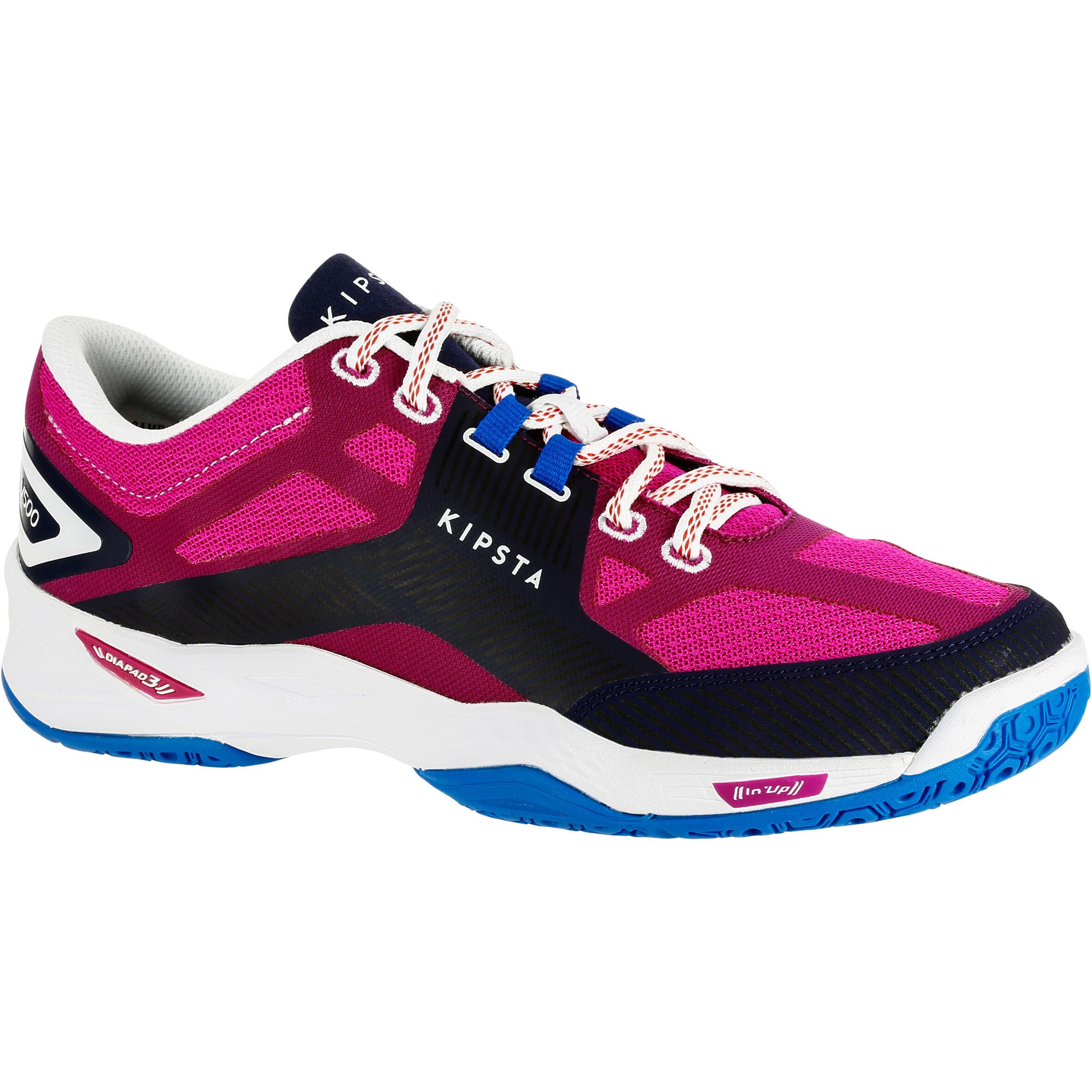 Zapatillas de voleibol V500 para mujer azules y rosa
