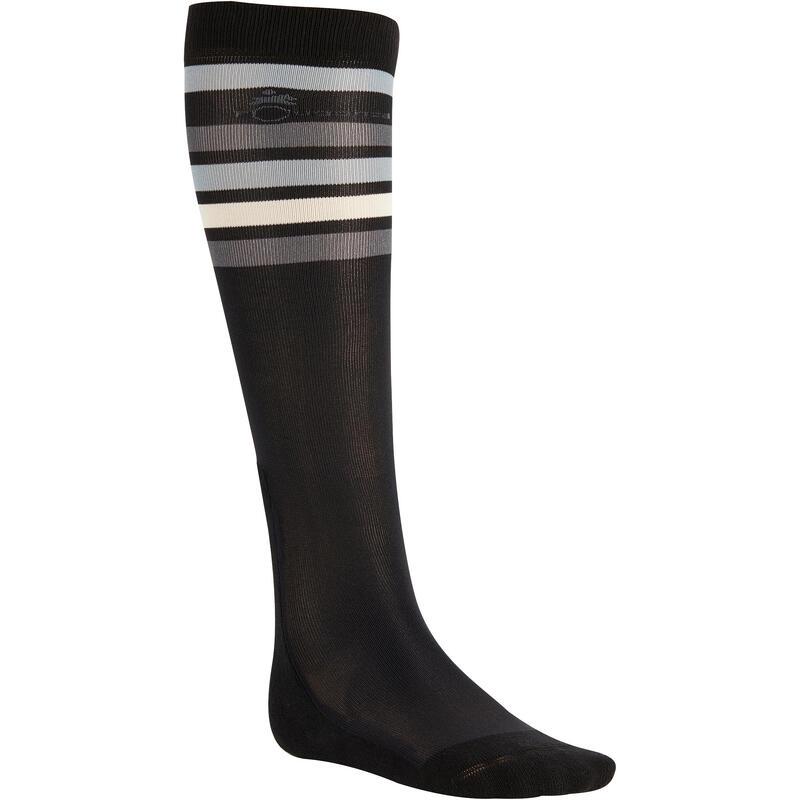 Paardrijsokken volwassenen SKS100 zwart met witte en grijze strepen