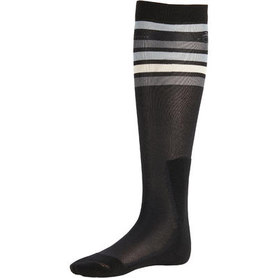 Adult Horse Riding Socks 100 - White/Grey Stripes