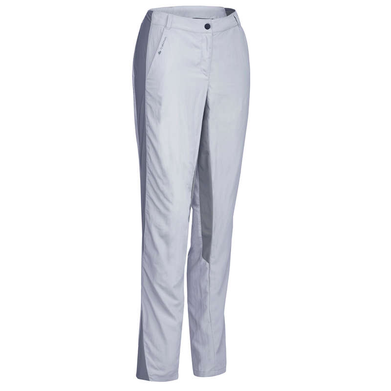 WOMEN MOUNT HIKING TEE SHIRTS, PANTS Hiking - MH100 W Trousers - Light Grey QUECHUA - Hiking Clothes