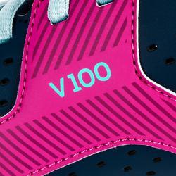 Chaussures de volley-ball V100 fille à lacets bleues et roses