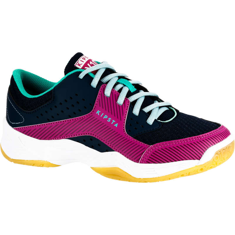 VOLLEY BALL SHOES Volleyball and Beach Volleyball - Girls' V100 Shoes - Navy/Pink ALLSIX - Volleyball and Beach Volleyball