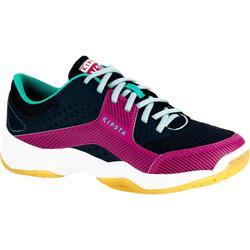 Volleybalschoenen voor meisjes V100 veters blauw/roze
