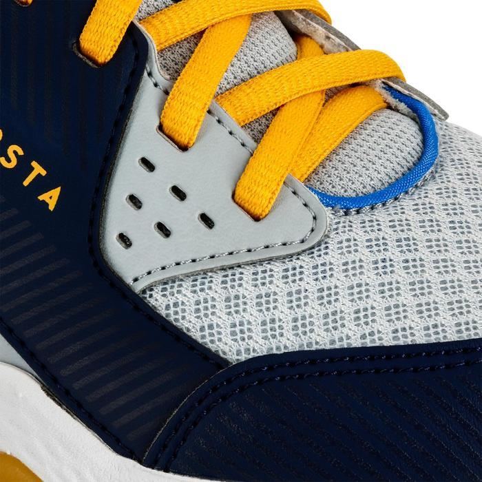 Chaussures de volley-ball V100 à lacets garçon grises et bleues