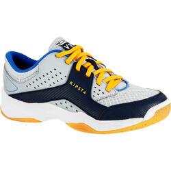 Chaussures de volley-ball V100 avec des scratches, garçon grises et bleues