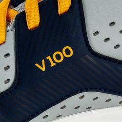 Volleyballschuhe V100 Schnürsenkel Kinder grau/blau