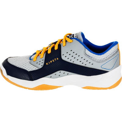 Chaussures de volley-ball V100 garçon à lacets grises et bleues