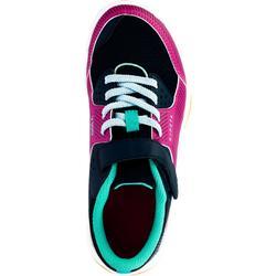 Volleybalschoenen V100 meisjes met klittenband blauw en roze