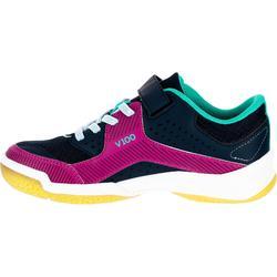 Chaussures de volley-ball V100 fille avec scratches, bleues et roses